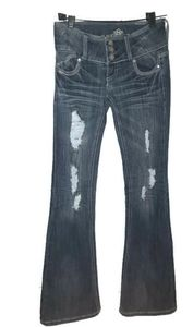 Almost Famous Womens Flare Bootcut Ripped Jeans